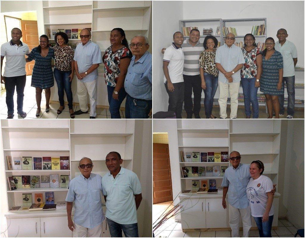 Presidente da Academia Maranhense de Letras visitou biblioteca da Liberdade a convite de Cézar Bombeiro