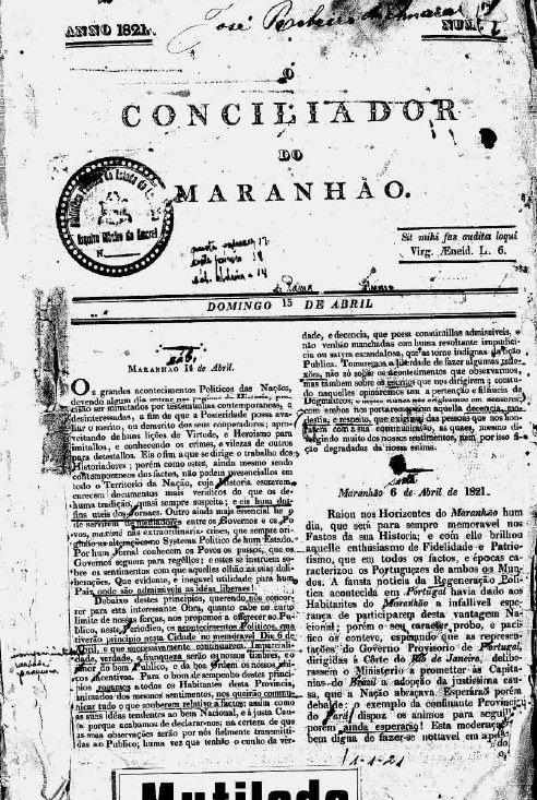 Jornal O Conciliador do Maranhão. Crédito: acervo da Biblioteca Pública Benedito Leite